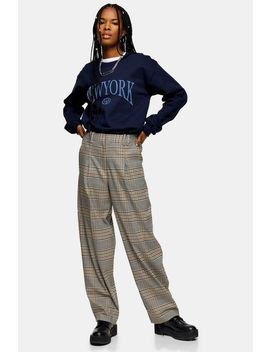 Elastic Back Check Trousers by Topshop