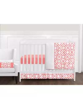 Sweet Jojo Designs Mod Diamond Crib Bedding Collection In White/Coral by Sweet Jojo Designs