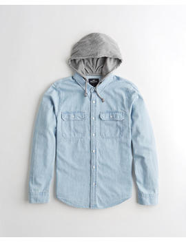 Hooded Denim Shirt by Hollister