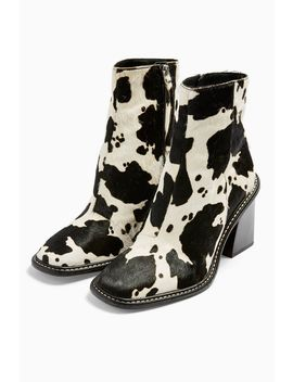Hugh Leather Black And White Cow Print Boots by Topshop