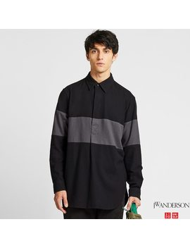 Men Jw Anderson Flannel Pullover Shirt by Uniqlo