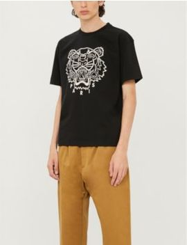 Tiger Embroidered Cotton Blend Jersey T Shirt by Kenzo