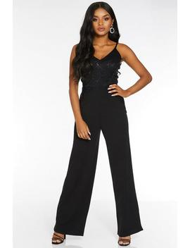 Petite Black Lace Sequin Palazzo Jumpsuit by Quiz