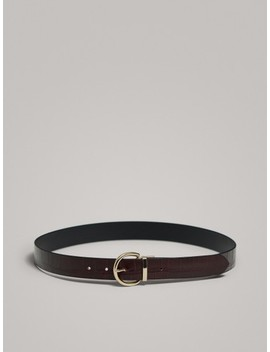 Cintura Double Face In Pelle by Massimo Dutti