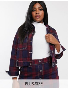 Simply Be Co Ord Denim Jacket In Check Print by Simply Be