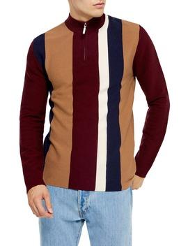 Stripe Mock Neck Quarter Zip Sweater by Topman
