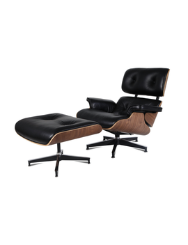 E Mod   Mid Century Plywood Lounge Chair And Ottoman Eames Style Leather Black Walnut by E Modern Furniture