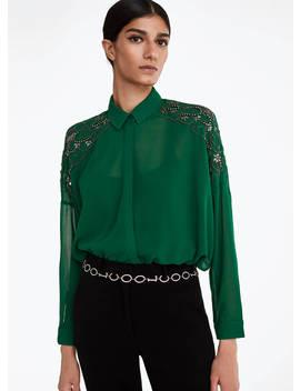 Camisa Verde Com Pedraria by Uterqüe