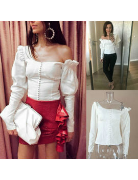 White One Shoulder Blouse Top Savana Self Portrait Free Shipping by Unbranded
