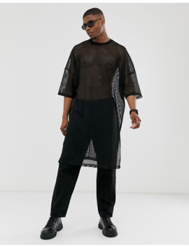 Asos Design Oversized Extreme Longline T Shirt With Side Splits In Mesh In Black by Asos Design