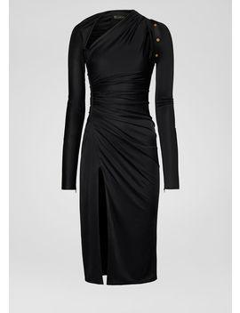 Robe Mi Longue Drapée à Encolure Asymétrique by Versace