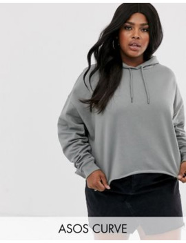 Asos Design Curve Cropped Boxy Hoodie In Sage by Asos Design