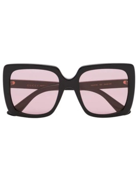 Black And Pink Square Framed Sunglasses by Gucci Eyewear