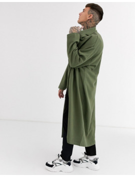 Asos Design Extreme Oversized Longline Jersey Duster Jacket In Khaki by Asos Design
