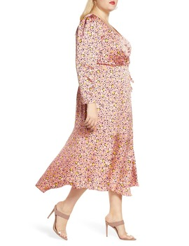 Pink Leopard Print Long Sleeve Satin Wrap Dress by Leith