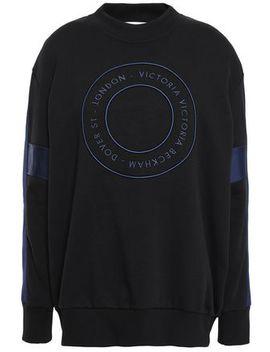 Satin Trimmed Embroidered Cotton Sweatshirt by Victoria, Victoria Beckham