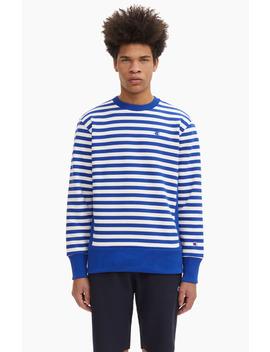Striped 'c' Logo Patch Reverse Weave Sweatshirt by Champion