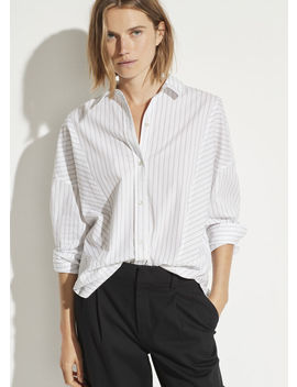 Paneled Double Pinstripe Shirt by Vince
