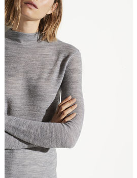 Crepe Wool Funnel Neck by Vince