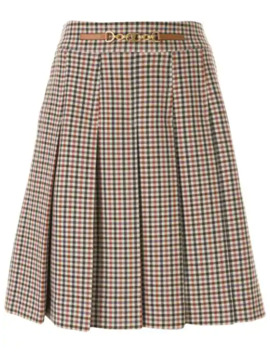 Pleated Gingham Skirt by Tory Burch