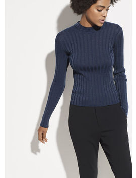 Ribbed Wool Mock Neck Pullover by Vince