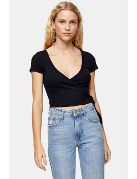 Ribbed Ballet Wrap T Shirt by Topshop