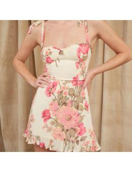 Summer Women's Dress Casual Flower Print Ruffle Trim Slim Sling Dress by Ali Express.Com