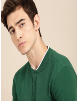 Men Green Solid Non Fading Hi Iq Henley Neck T Shirt by Ether