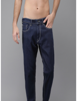 Men Blue Slim Tapered Fit Mid Rise Clean Look Stretchable Ankle Length Jeans by Here&Now