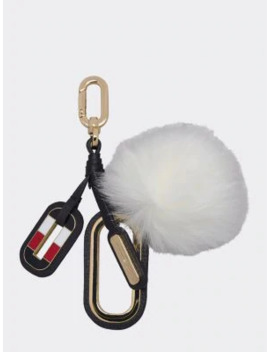 Logo Charm Leather Keyfob by Tommy Hilfiger