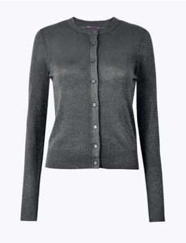 Glitter Round Neck Cardigan by Marks & Spencer