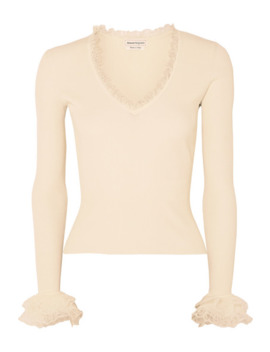 Ruffled Ribbed Knit Sweater by Alexander Mc Queen