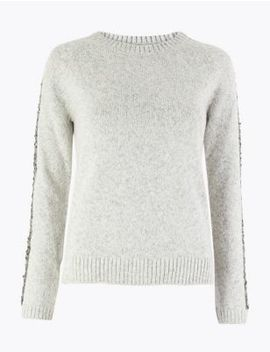 Sequinned Embellished Round Neck Jumper by Marks & Spencer
