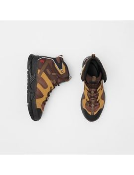 Mesh And Nubuck Union High Top Sneakers by Burberry