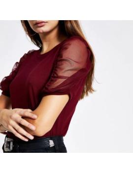 Dark Red Mesh Puff Short Sleeve T Shirt by River Island