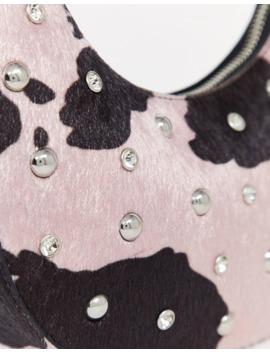 Asos Design 90s Hobo Shoulder Bag In Cow With Diamante Stud Detail by Asos Design