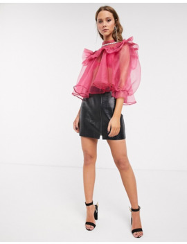 Sister Jane Oversized Blouse With Embellished Collar And Puff Sleeves In Organza by Sister Jane