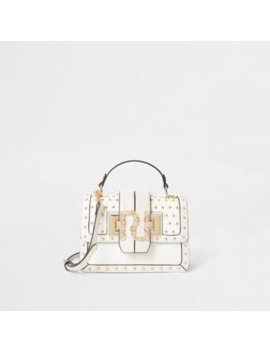 Cream Studded Ri Quilted Satchel Bag by River Island