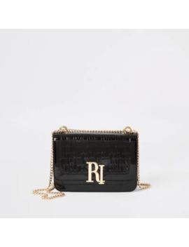 Black Ri Embossed Patent Underarm Bag by River Island