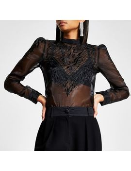 Black Long Sleeve Lace Sheer Top by River Island