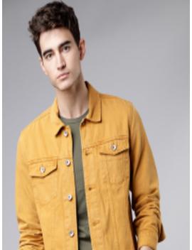 Men Mustard Yellow Solid Trucker Jacket by Locomotive