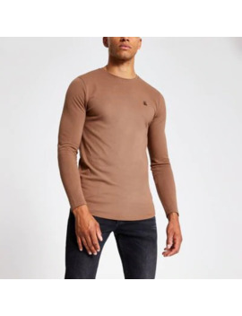 Brown R96 Muscle Fit Long Sleeve T Shirt by River Island