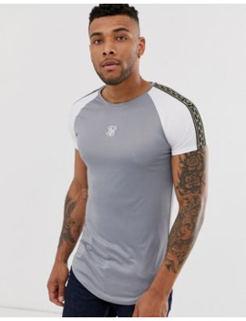 Sik Silk Muscle T Shirt With Taping In Grey by Sik Silk