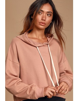 Best Time Mauve Pink Cropped Hoodie by Lulus