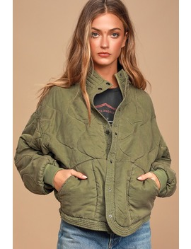 Roger That Olive Green Quilted Jacket by Blank Nyc