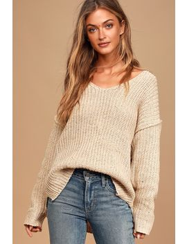 Caring Kisses Beige V Neck Knit Confetti Sweater by Lulu's