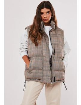 Black Check Print Padded Gilet by Missguided