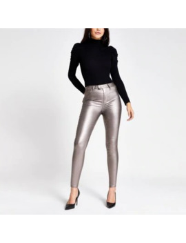 Silver Metallic Hailey High Rise Jeans by River Island