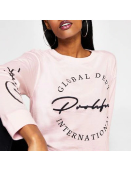 Pink Prolific Long Sleeve Cropped T Shirt by River Island