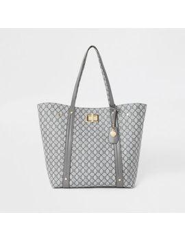 Grey Ri Monogram Lock Shopper Tote Bag by River Island
